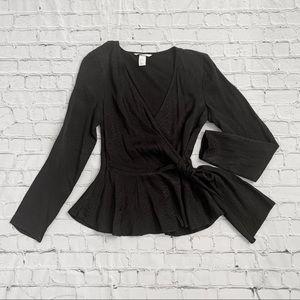 Snake skin long sleeve black blouse peplum